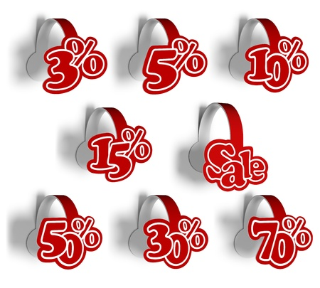 A 3d illustration set template of various stickers percent for sale. Wobblers. Stock Illustration - 16042371