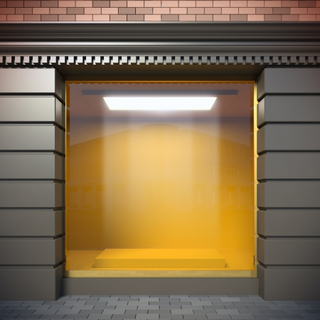 Eine 3D-Darstellung von leeren Schaufenster im klassischen Stil. Standard-Bild - 16042376