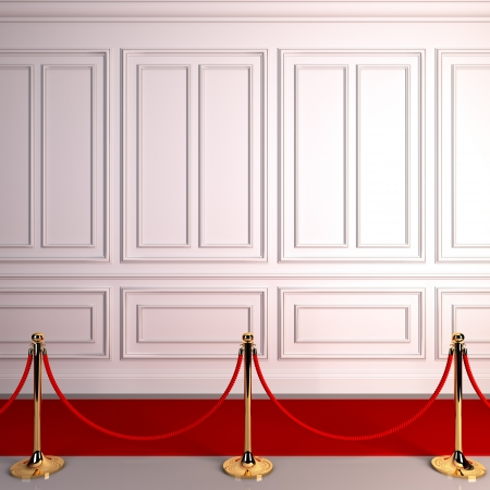 red velvet rope: A 3d illustration of red carpet abstract awards. Stock Photo