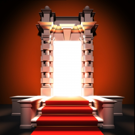 A 3d illustration of red carpet way to classical portal.
