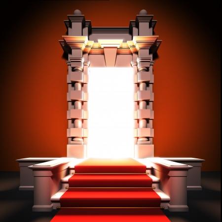 Eine 3D-Darstellung von roten Teppich Weg zur klassischen Portal. Standard-Bild - 16262362