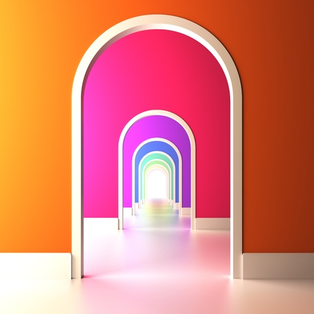 art gallery interior: A 3d illustration of archway to the colorful future. Stock Photo