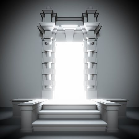 A 3d illustration of white portal to the future with bright light from him. illustration