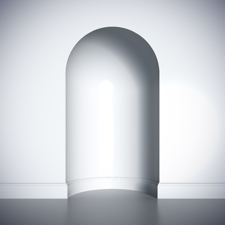 niche: A 3d illustration blank template layout of white  empty niche.