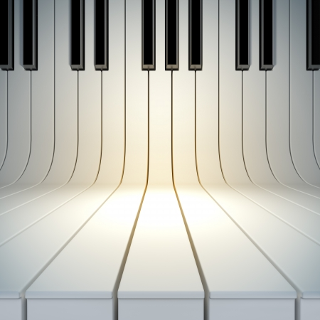A 3d illustration of blank surface from piano keys. Blank template layout of music placard Imagens