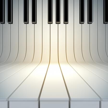 musica clasica: Una ilustración 3d de la superficie en blanco de las teclas del piano. Composición de la plantilla en blanco de la música cartel Foto de archivo