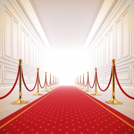 hall: A 3d illustration of red carpet path to the success light.