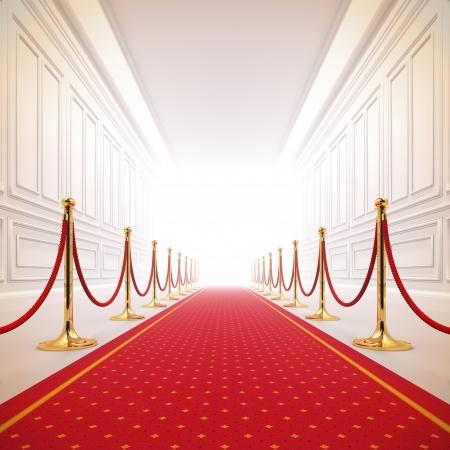 Una ilustración 3d de la alfombra roja camino a la luz el éxito. Foto de archivo