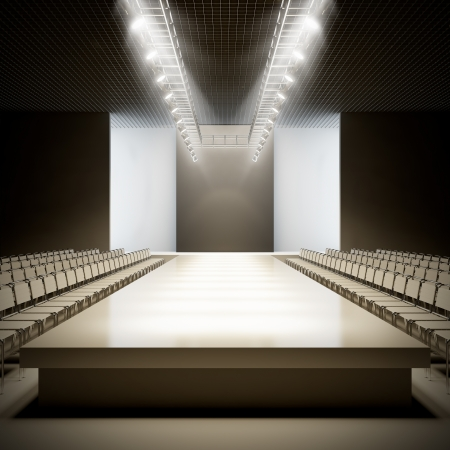 fashion catwalk: A 3D illustration of fashion empty runway. Stock Photo