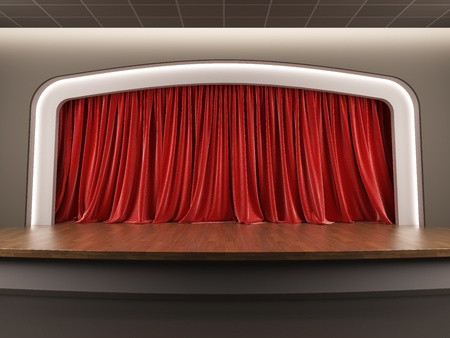 A 3d illustration blank template layout of empty stage with red velvet curtain. Stock Illustration - 17119320