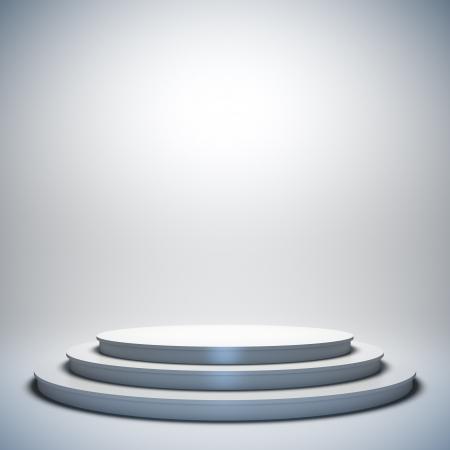 Eine 3D-Darstellung von leeren Vorlage Layout weiße leere Musical, Theater, Konzert oder Unterhaltung Bühne. Standard-Bild - 17119682