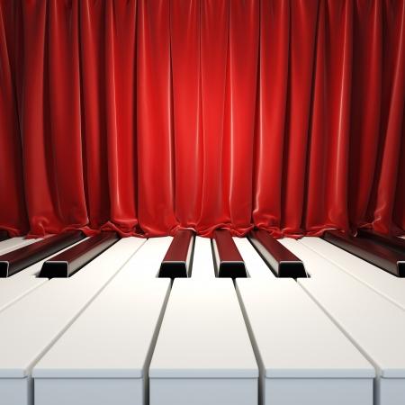 fortepian: Klawisze fortepianu i czerwone zasłony. 3d ilustracji pustej powierzchni układu szablonu z klawiszy fortepianu i czerwone aksamitne zasłony. Blank układ wzór muzyki plakietce