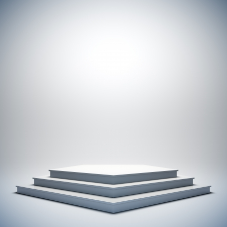 A 3d illustration of blank template layout of white empty musical, theater, concert or entertainment stage. Imagens