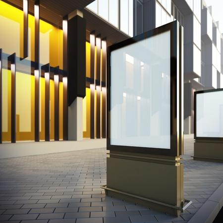Vertikal Plakatwand in der Innenstadt. Eine 3D-Darstellung leere Vorlage Layout moderner Plakatwand an der Straße. Standard-Bild - 17988513