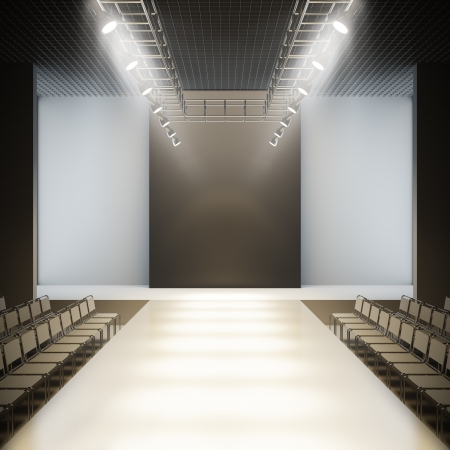 fashion catwalk: Empty runway. A 3D illustration blank template layout of fashion empty white catwalk runway.