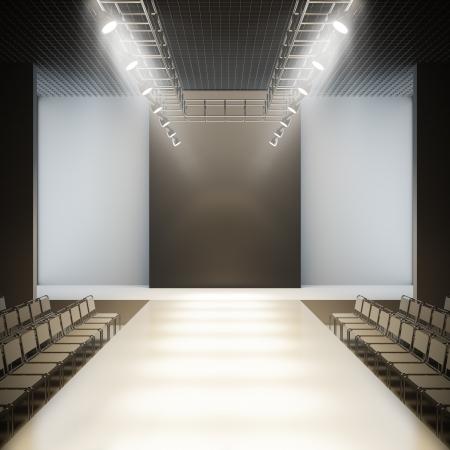 Pista vuota. Una illustrazione di vuoto layout del modello 3D di moda vuota bianca passerella pista.