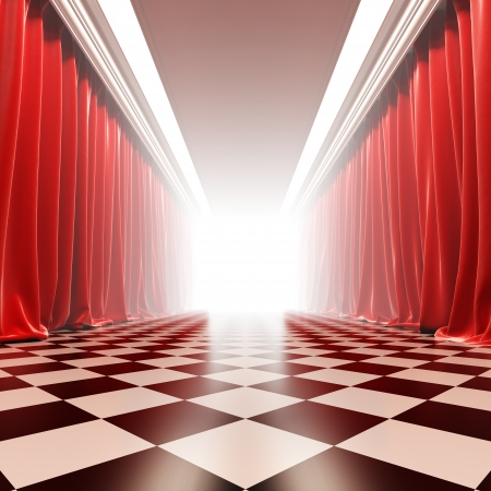 Hall of fame. A 3d illustration of empty hall with red curtains in victorian style. Imagens