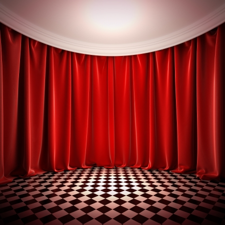stage decoration abstract: Empty hall with red curtains. A 3d illustration of empty stage in victorian style.