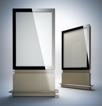 Blank vertikale Werbetafeln. 3D-Darstellung von leeren Vorlagenlayout leer Metall Werbetafeln mit schwarzem Rahmen. Standard-Bild - 18267676