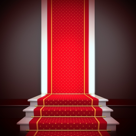 fame: Stage of fame. A 3d illustration blank template of podium with stairs and red carpet.