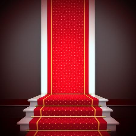 Stage of fame. Eine 3D-Darstellung leere Vorlage des Podiums mit Treppen und roten Teppich. Standard-Bild - 18344753