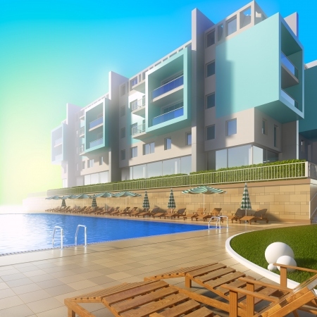 hotel pool: Swimming pool and modern hotel. A 3d illustration of idyllic summer background with pool and contemporary building. Stock Photo