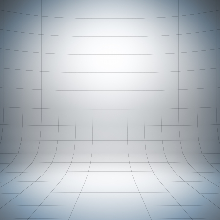 Empty white surface. A 3d illustration of blank template layout of simple stage with grid. Imagens