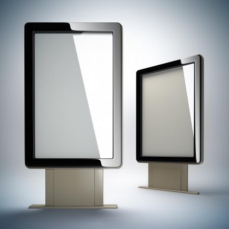 Blank vertical billboards. 3D illustration of blank template layout empty metal billboards with black frame. Stockfoto