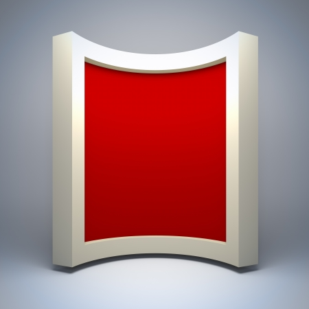 photo studio background: Empty curved frame. A 3d illustration blank template layout of empty border.