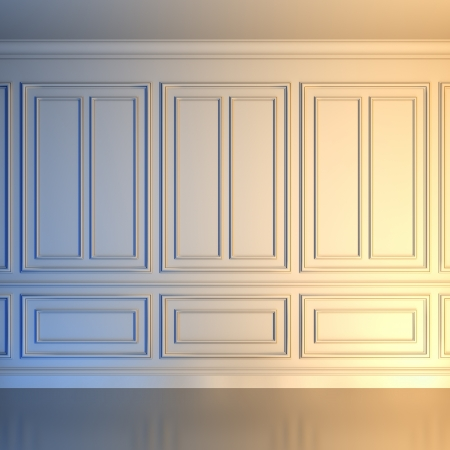 classic house: A 3d illustration of a white wall in classical style.