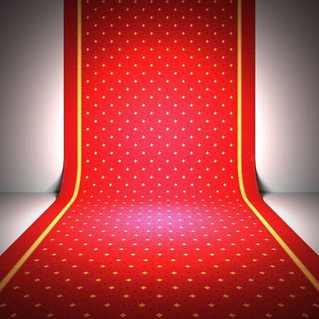 carpet design: A 3d illustration of an elegant red carpet.