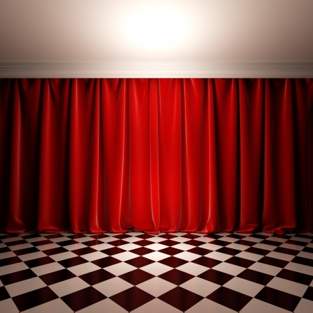 Empty scene with red velvet curtain. A 3d illustration of stage in victorian style.