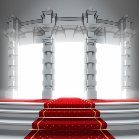 Red carpet way to the light portal. A 3d illustration of classical entrance to the future with red carpet. illustration
