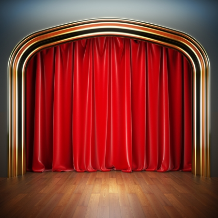 night club interior: Empty stage. A 3d illustration blank template of theater scene with red velvet curtains.
