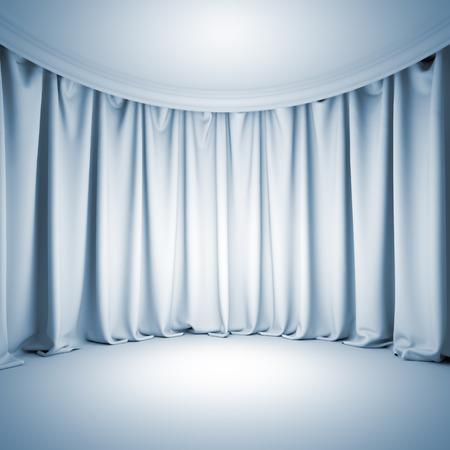 Una ilustración del fondo de la plantilla en blanco 3d de escenario de teatro vacío blanco con la luz brillante en la cortina y el suelo