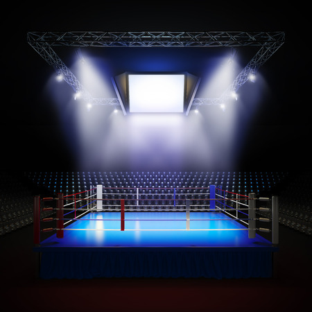 A 3d render illustration of empty professional boxing ring with illumination by spotlights
