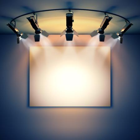 3d render illustratie lege sjabloon lay-out van lege witte doek foto op de muur verlicht door schijnwerpers