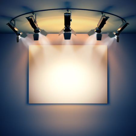 3d render illustration blank template layout of empty white picture canvas on wall illuminated by spotlights
