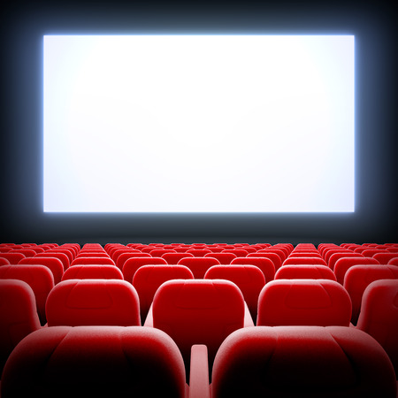 3d render illustration blank template of empty cinema hall with white wide display and red velvet chairs