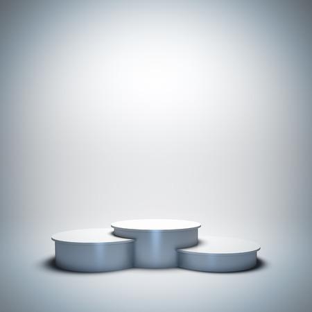 3d render illustration blank template layout of white empty sport winner podium