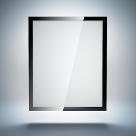 A 3d illustration blank template layout of abstract tablet pc or electronic photo frame on simple background. illustration