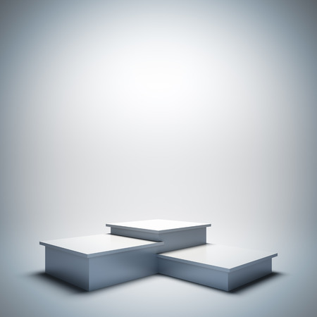 A 3d illustration blank template layout of empty white sport podium. Stock Photo