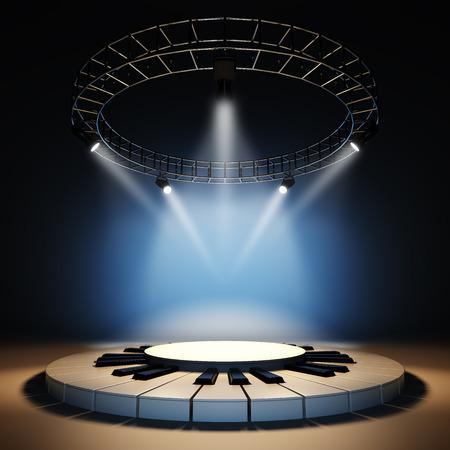 teclado de piano: Una ilustraci�n 3D de dise�o de plantilla en blanco de la etapa de la m�sica de jazz vac�a. Etapa iluminada por focos en el fondo azul. Etapa vac�a para colocar el texto, logotipo u objeto.