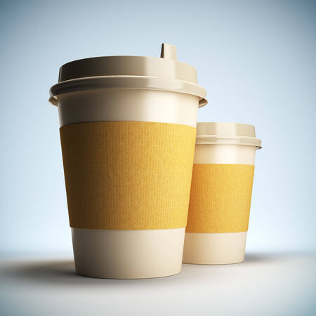 go out: A 3D illustration blank template layout of Coffee cups.