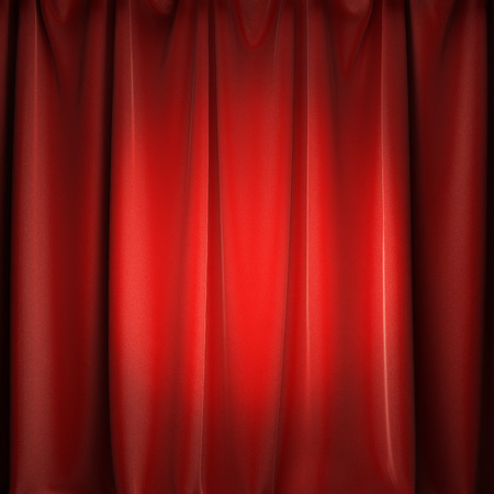 A 3d illustration of stage red curtains with spotlight.