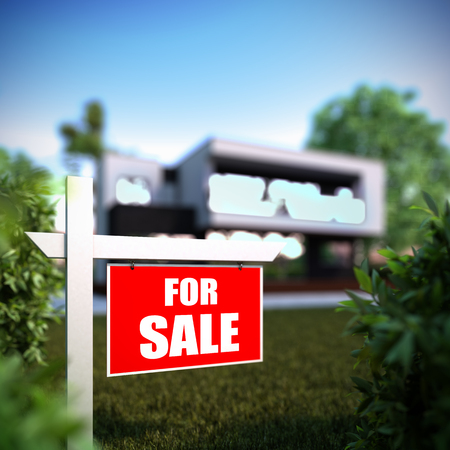 housing crisis: A 3D illustration of Home For Sale sign in front of new modern house.
