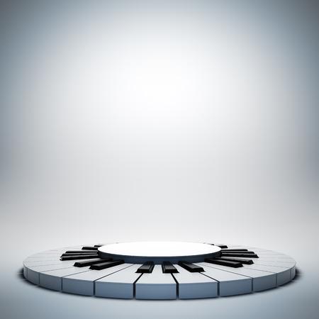 piano: Una ilustración 3D de diseño de plantilla en blanco de la etapa de la música de jazz blanca vacía. Etapa en el cartel está vacía para colocar el texto