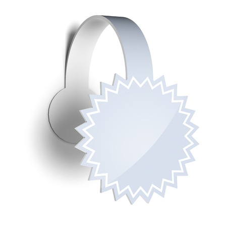 wobbler: Blank template layout of white empty sticker, label or wobbler.