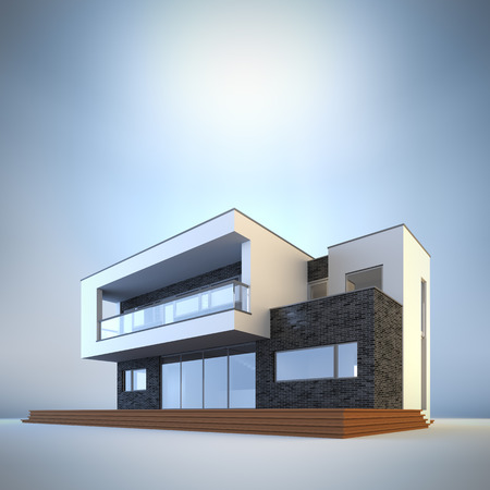 3d render illustration of template contemporary minimalist house at blue background. Empty copy space to place your text or logo. Stock Photo