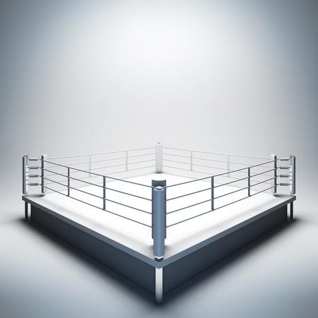 3D render illustratie lege sjabloon lay-out van lege witte boksring. Lege kopie ruimte voor uw tekst, object, logo of foto boksers plaatsen. Stockfoto